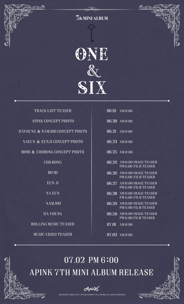 "A Pink / APink >> Mini Album ""One & Six"" - Página 3 Apink-Release-Schedule"