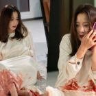 "Kim Hee Sun's White Dress Is Painted With Blood In ""Room No. 9"""