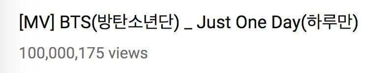 """""""Just One Day"""" de BTS se convierte en su 15to MV en alcanzar las 100 millones de visitas 2"""