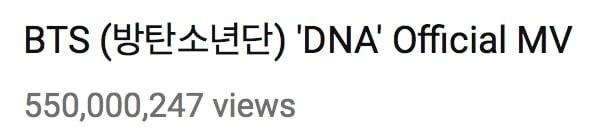 """""""DNA"""" de BTS se convierte en el primer MV de un grupo coreano en llegar a los 550 millones de vistas 1"""