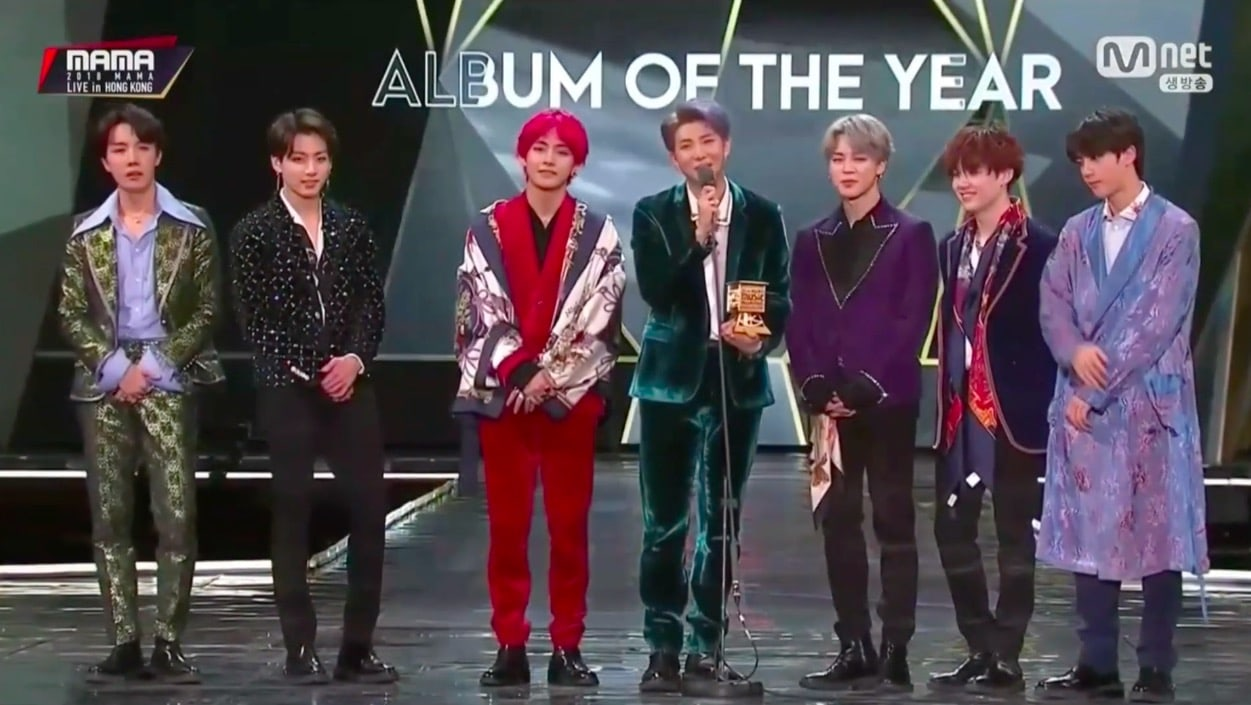 BTS Wins Artist And Album Of The Year At 2018 MAMA With 10
