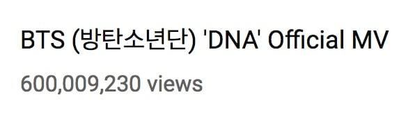 """""""DNA"""" de BTS se convierte en el primer MV de un grupo coreano en alcanzar 600 millones de reproducciones 1"""