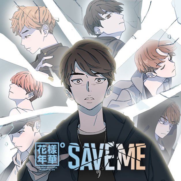 Promotional image for the webtoon Save Me. A stunned Jin is featured front and center, with broken glass reflecting the remaining BTS members in the background.