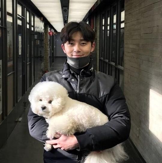 Park Seo Joon bersama anjing peliharaannya, Simba