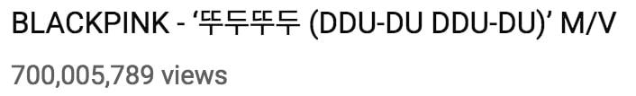 Pencapaian BLACKPINK untuk music video Ddu Du Ddu Du