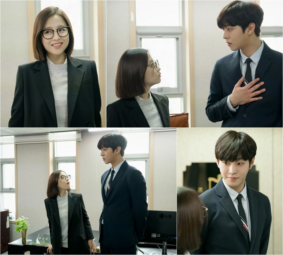 The new stills show Park Bo Young and Ahn Hyo Seop as they wear suits together