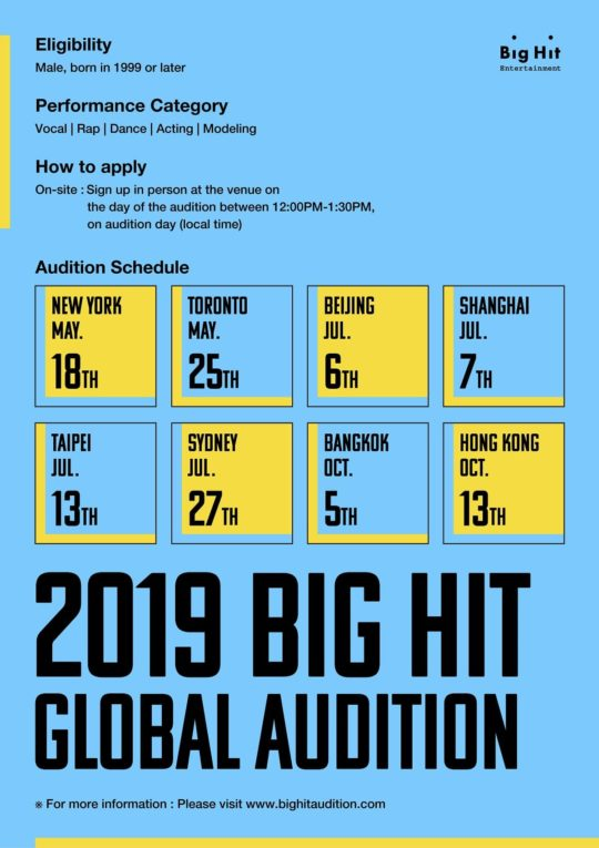 Global Audition 2019 Big Hit Entertainment