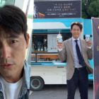 Jung Woo Sung Shows Support For Lee Jung Jae's New Drama With Coffee Truck