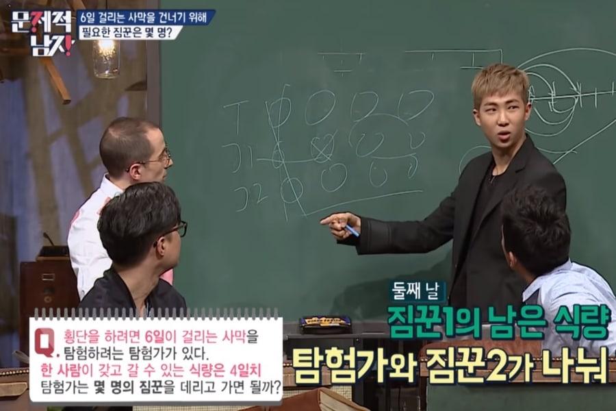 RM BTS saat menjelaskan jawaban dari pertanyaan di acara Problematic Man