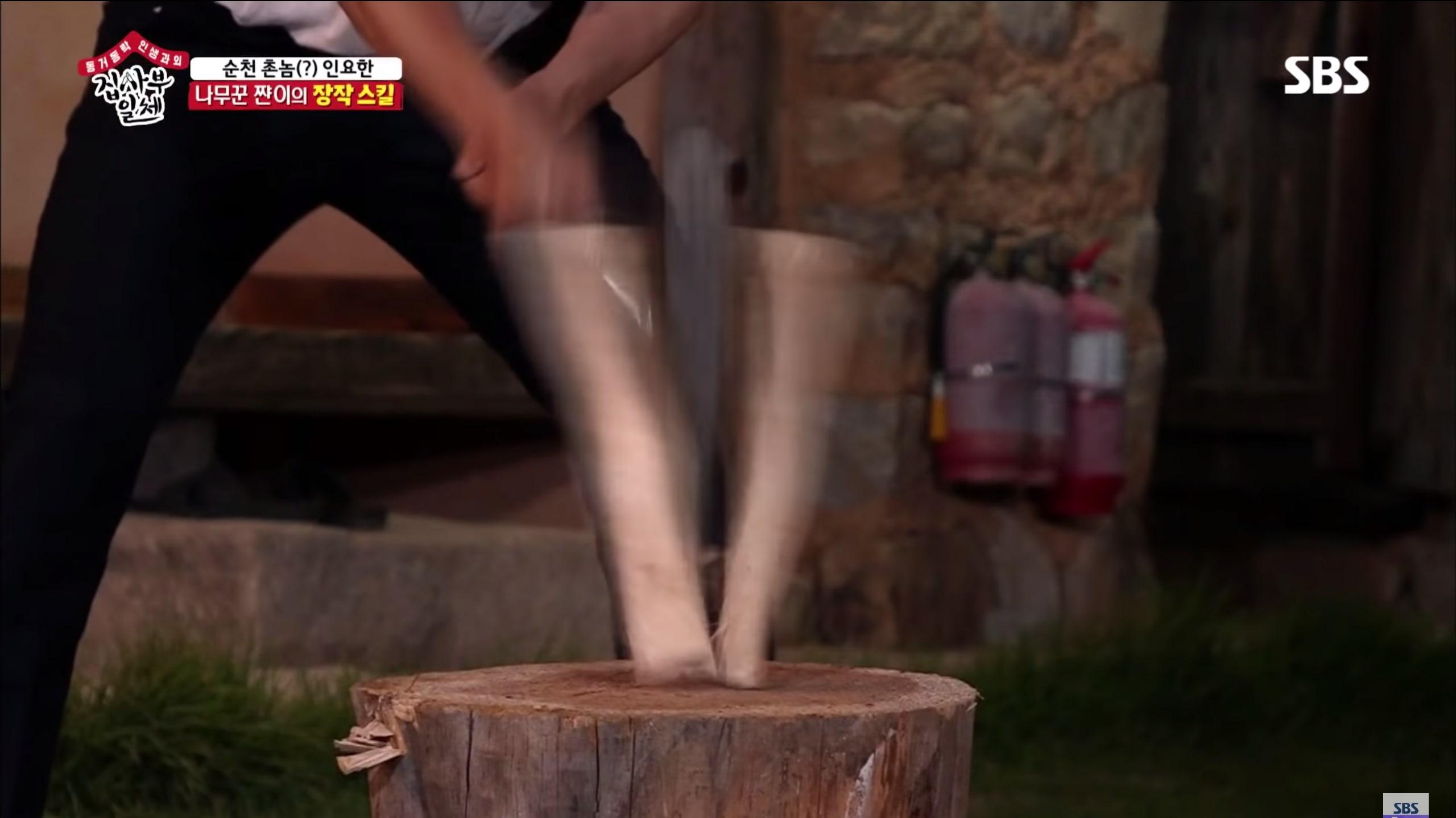 Lee Seung Gi Shows Off Impressive Wood-Splitting Skills On