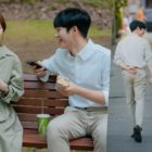 "Han Ji Min And Jung Hae In Remain Cheerful Despite The Summer Heat On Set Of ""One Spring Night"""