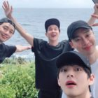 BTS's V Shares Photos From Vacation With Park Seo Joon, Choi Woo Shik, And More