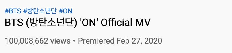 El vídeo ON de BTS supera 100 millones de visitas en menos de un mes 1