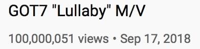 Lullaby MV Views