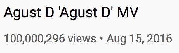 """El MV """"Agust D"""" de Suga de BTS alcanza los 100 millones de vistas 1"""