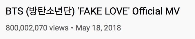 BTS Fake Love MV Views