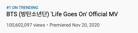 bts life goes on 100 mil