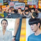 "Kim Young Dae Protects Jo Yeo Jeong From A Group Of Angry Protesters In ""Cheat On Me If You Can"""
