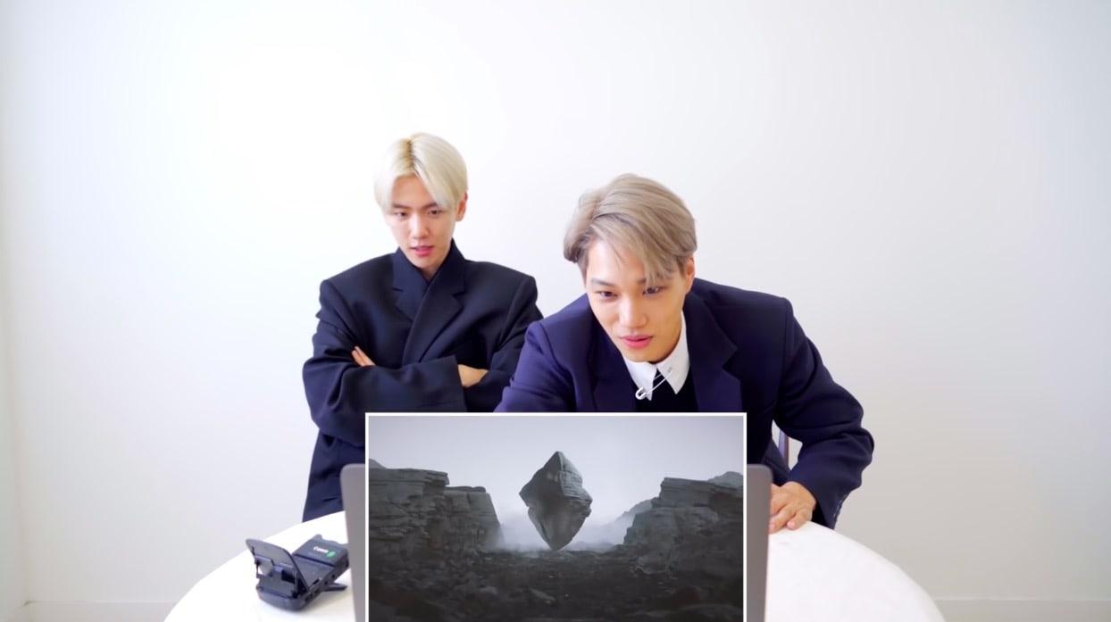 """EXO's Kai and Baekhyun react to Kai's debut solo """"Mmmh"""" MV"""