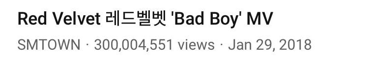 Red Velvet Bad Boy MV Views