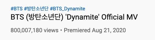 bts dynamite 800 million