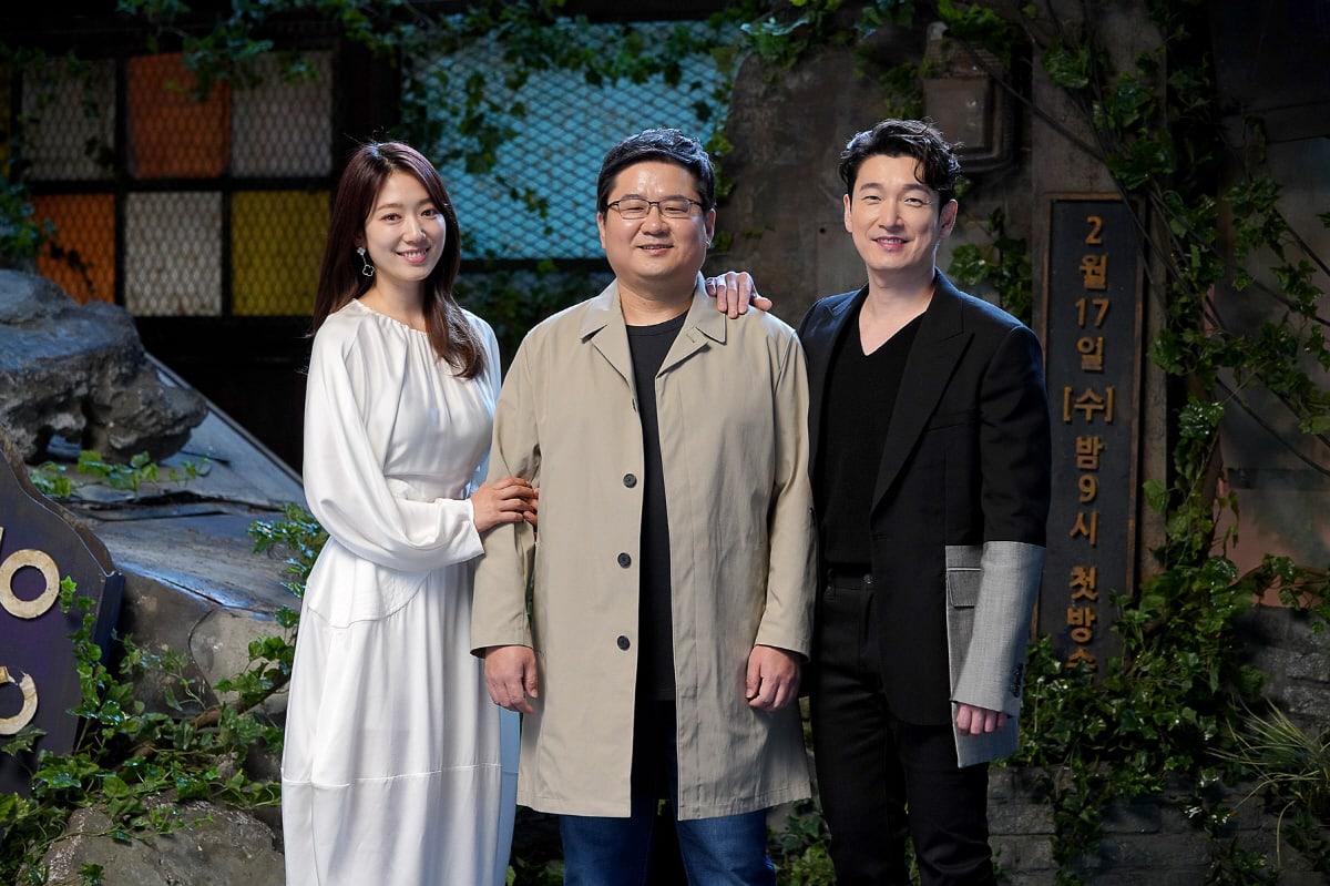 Park Shin Hye, Jin Hyuk, dan Cho Seung Woo di konferensi pers Sisyphus: The Myth, Rabu (17/2/2021)