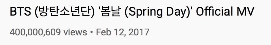BTS Spring Day MV Views