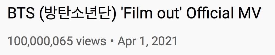 BTS Film Out MV Views