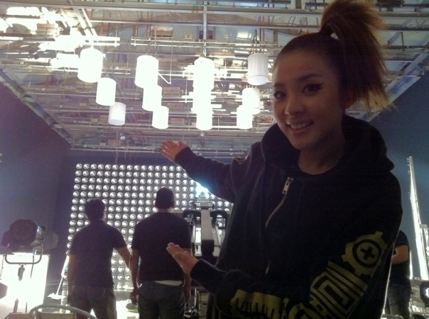 2NE1's Dara Shares Images From Recent Set of Music Video Filming