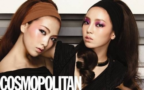Kara's Goo Hara and Kang Ji Young in a V-line Showdown for Cosmopolitan