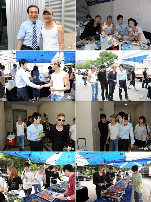 "JYJ's Junsu and Yoochun Visit Jaejoong on the Set of ""Protect the Boss"""