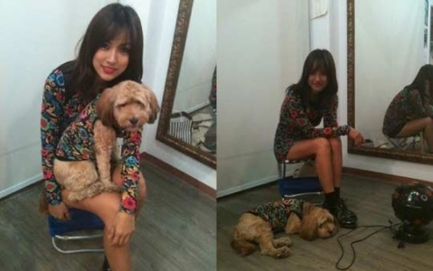 """Lee Hyori and Her Dog Soonshim Show Off Their """"Couple Look"""""""