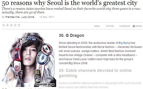 """G-Dragon on CNN's List of """"50 Reasons Why Seoul is the World's Greatest City"""""""