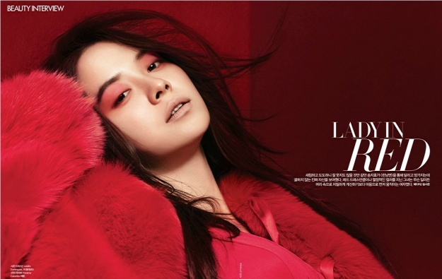 Song Ji Hyo is a Lady in Red for Bazaar Korea