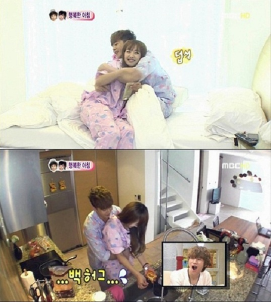 Nichkhun Gives Victoria a Series of Cuddly Back Hugs!