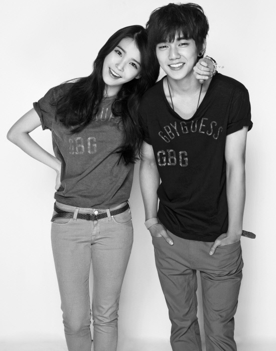 Iu yoo seung ho pose together for g by guess soompi iu yoo seung ho pose together for g by guess thecheapjerseys Images