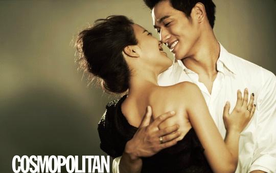 Baek Ji Young and Jung Suk Won Pose Affectionately For Cosmopolitan