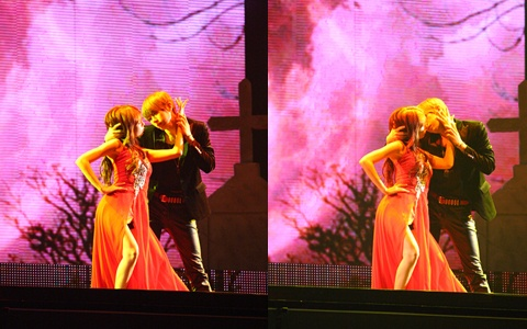 """""""Troublemaker"""" Hyuna and Jang Hyun Seung Kiss on Stage"""