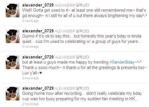 Alexander Misses U-KISS on His birthday?