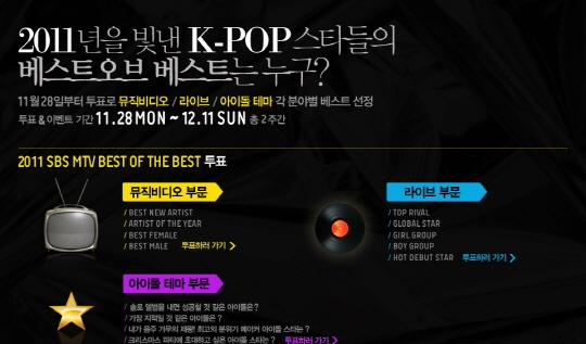 "2.4 Million Netizens Worldwide Vote for ""2011 SBS MTV Best of Best"""