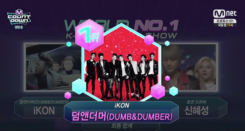 """iKON gana el No.1 una vez más en """"M!Countdown"""" con """"Dumb and Dumber"""""""