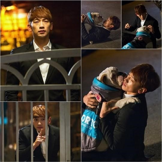 Rain se hace amigo de su co-estrella bulldog en imágenes reveladas del próximo drama de SBS