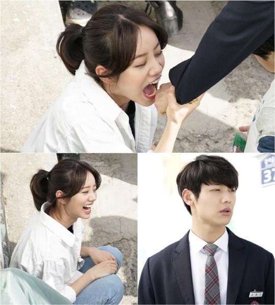"""Hyeri intenta morder la mano de Kang Min Hyuk en el set de """"Entertainer"""""""