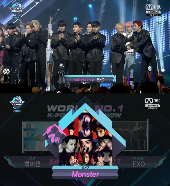 """EXO consigue su primera victoria con """"Monster"""" en """"M!Countdown"""", actuaciones de DIA, CLC, Jonghyun y más"""