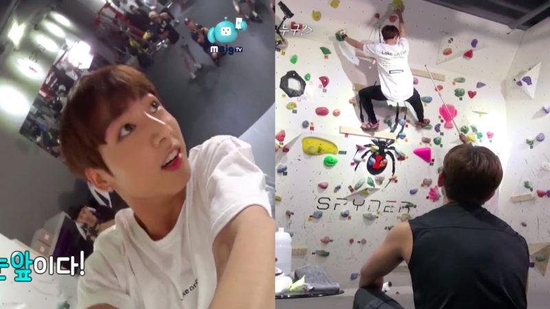 """Jungkook de BTS mantiene la mirada en el premio de carne durante el reto de escalar dado por Minwoo en """"Celebrity Bromance"""""""