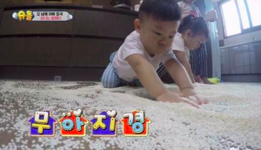 "Seol Ah, Soo Ah y Daebak hacen una fiesta salvaje de arroz en ""The Return of Superman"""