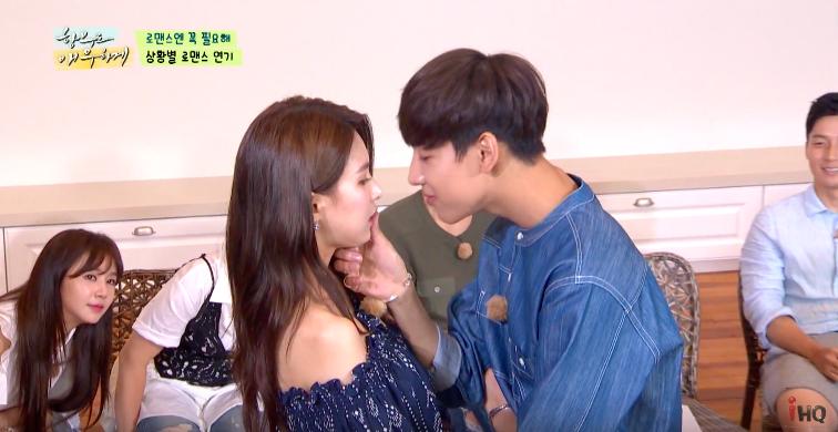 """BamBam de GOT7 se pone tímido al recrear la escena de beso de """"Uncontrollably Fond"""" con Jei de FIESTAR"""