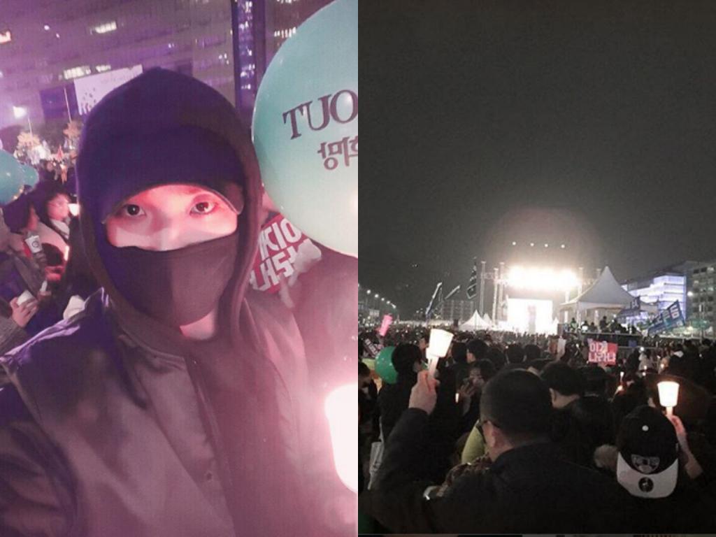 Lee Joon toma parte de una protesta que pide la renuncia de la presidenta Park Geun Hye