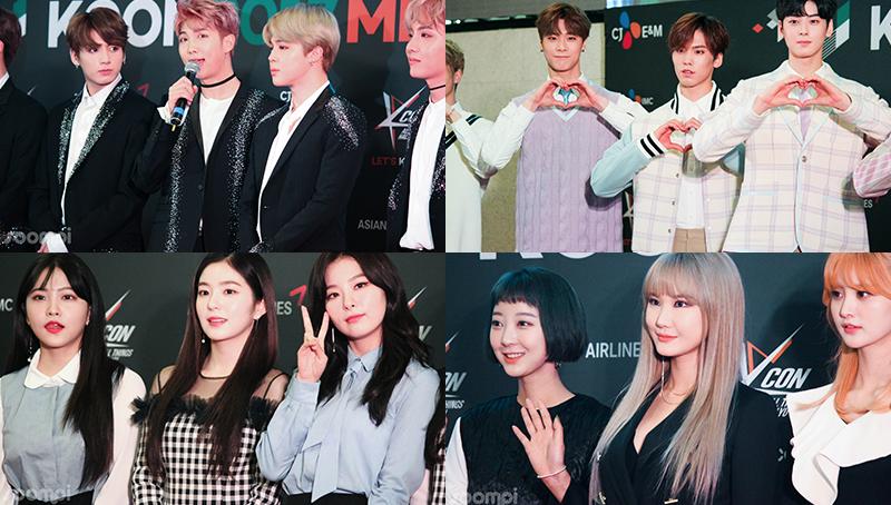 BTS, Eric Nam, EXID, MONSTA X, Astro, NCT 127, INFINITE H y Red Velvet en la alfombra roja de KCON México