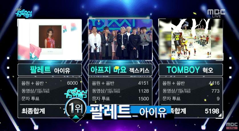 """IU logra su 6ª victoria con """"Palette"""" en """"Music Core"""". Actuaciones de WINNER y SECHSKIES, entre otros"""